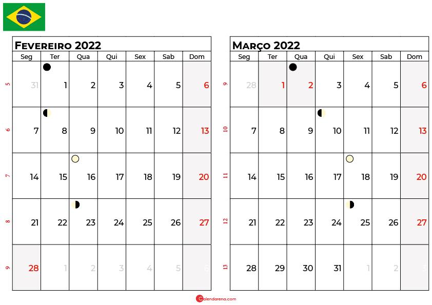 calendario fevereiro e março 2022