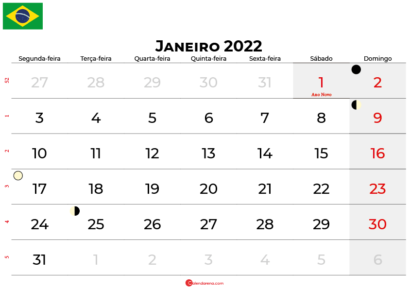 calendario janeiro 2022 brasil