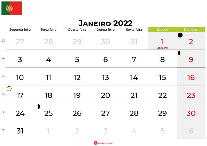calendario janeiro 2022portugal