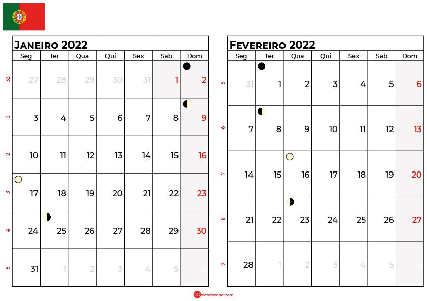 calendario janeiro e fevereiro 2022 portugal