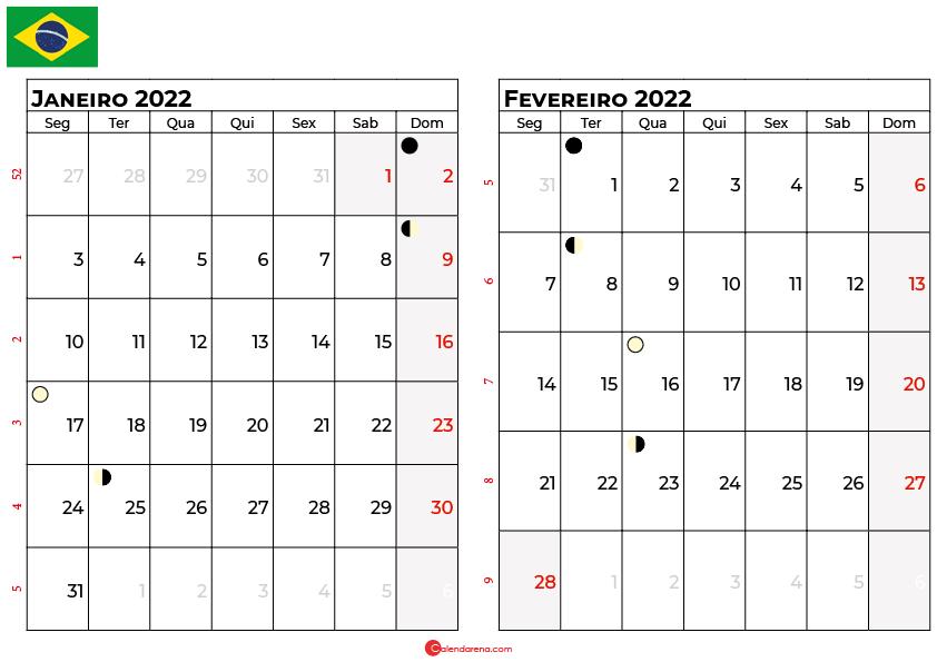 calendario janeiro e fevereiro 2022