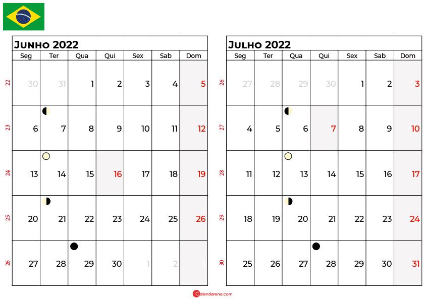 calendario junho e julho 2022