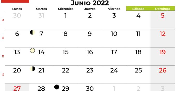 calendario junio 2022 Chile