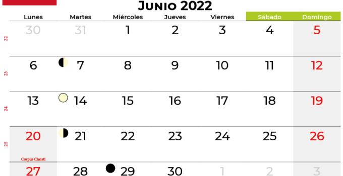 calendario junio 2022 colombia