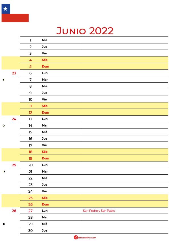calendario junio 2022 para imprimir Chile