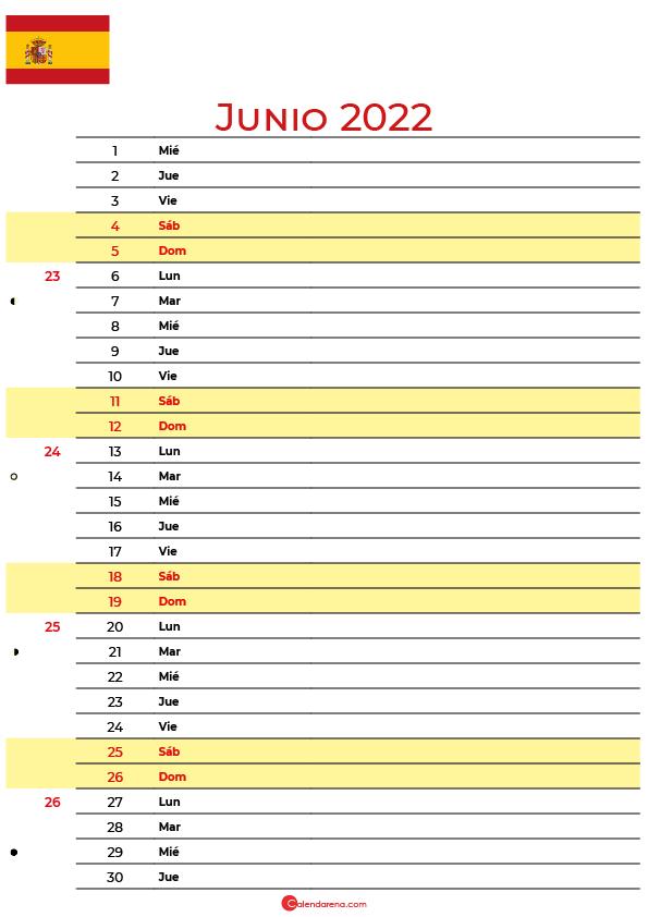 calendario junio 2022 para imprimir España