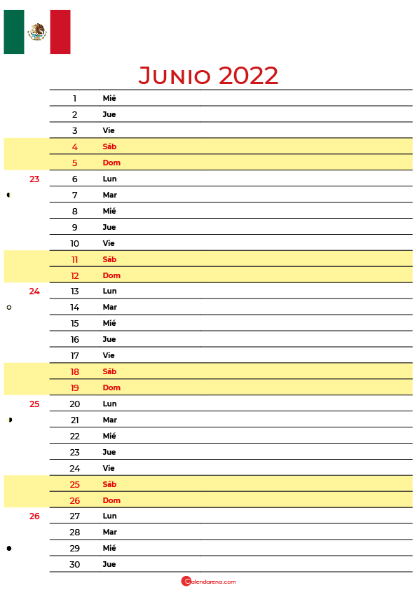 calendario junio 2022 para imprimir México