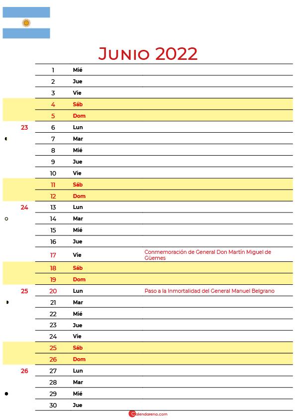 calendario junio 2022 para imprimir argentina