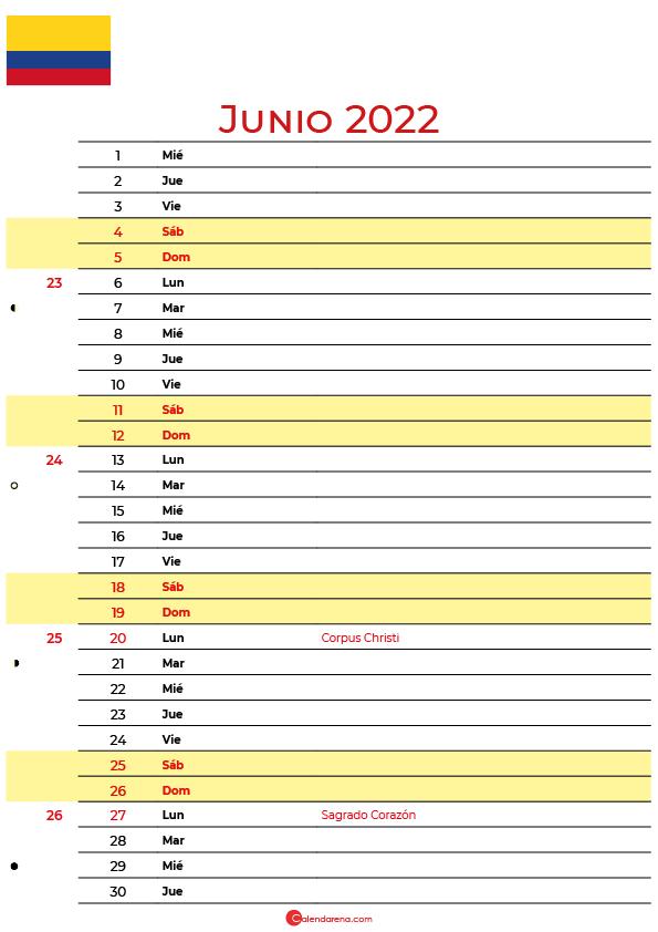 calendario junio 2022 para imprimir colombia