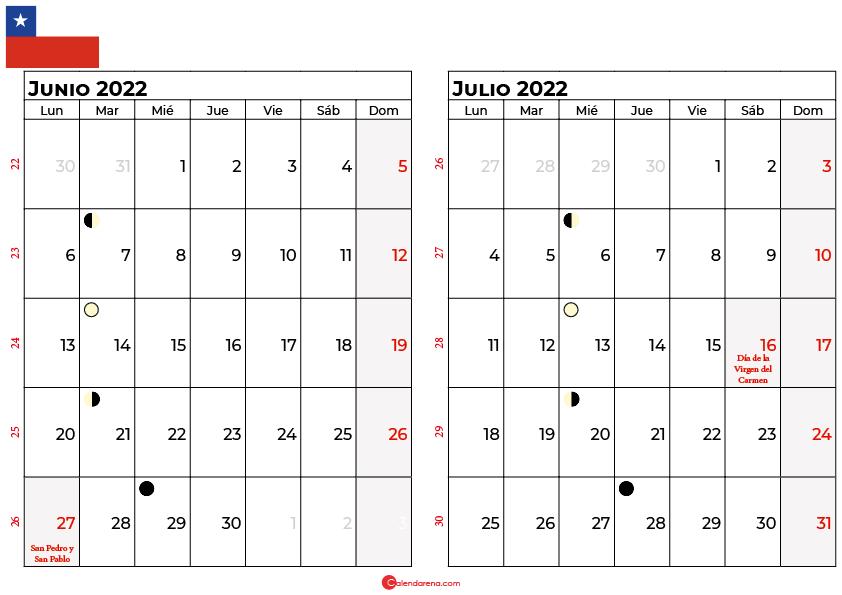 calendario junio y julio 2022 Chile