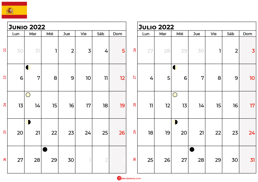 calendario junio y julio 2022 España