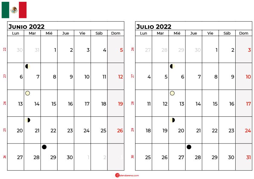 calendario junio y julio 2022 México