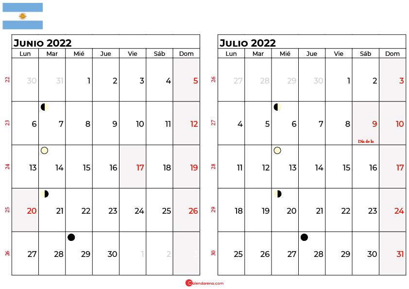 calendario junio y julio 2022 argentina