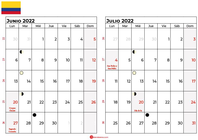 calendario junio y julio 2022 colombia
