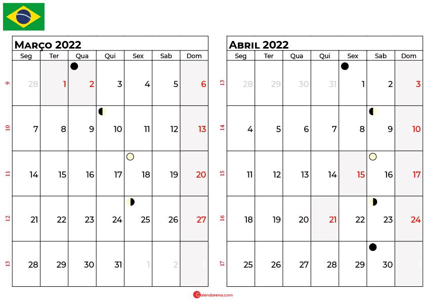 calendario março e abril 2022
