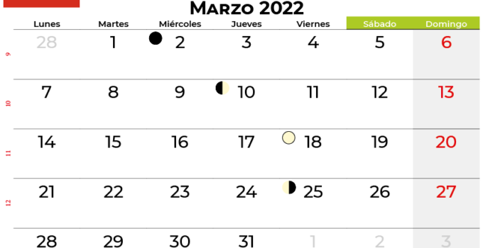 calendario marzo 2022 Chile