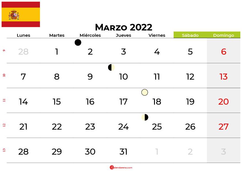 calendario marzo 2022 España