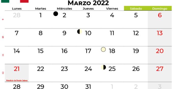 calendario marzo 2022 México