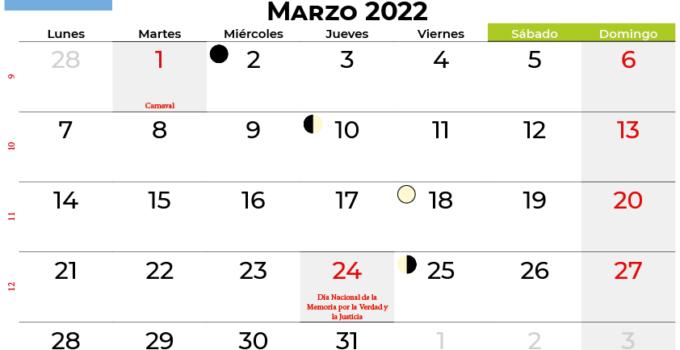 calendario marzo 2022 argentina