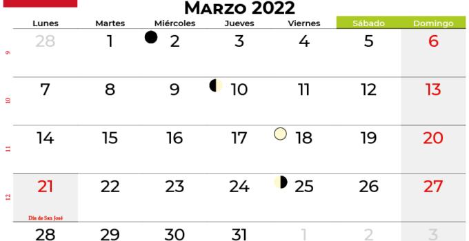 calendario marzo 2022 colombia