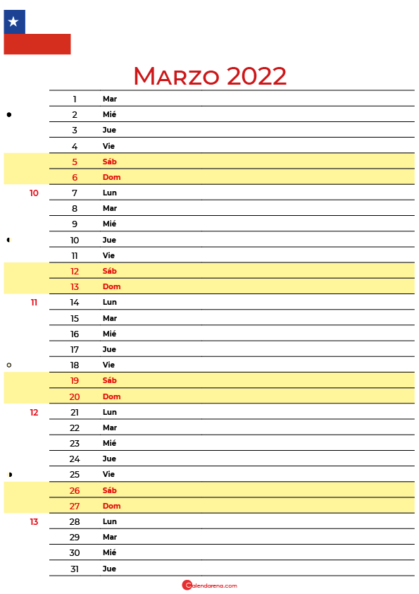 calendario marzo 2022 para imprimir Chile