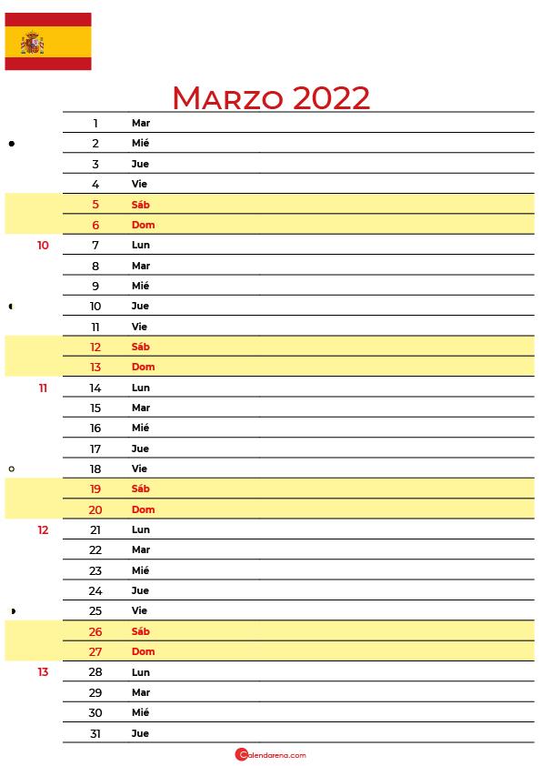 calendario marzo 2022 para imprimir España