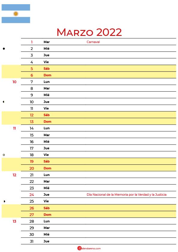 calendario marzo 2022 para imprimir argentina