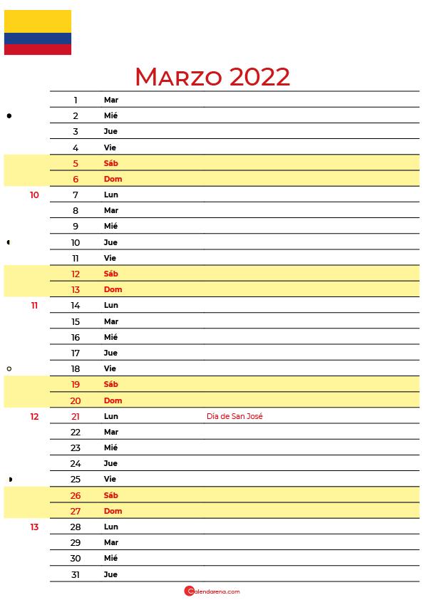 calendario marzo 2022 para imprimir colombia