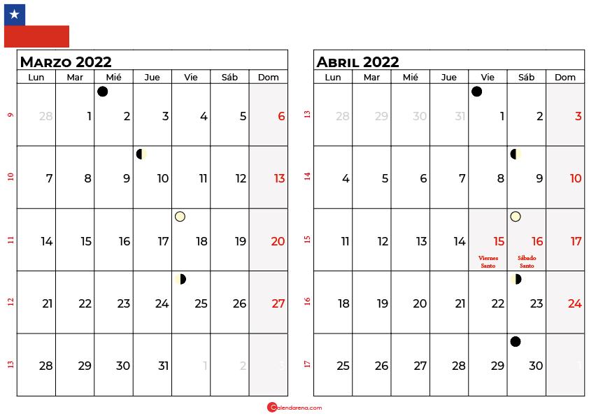 calendario marzo y abril 2022 Chile
