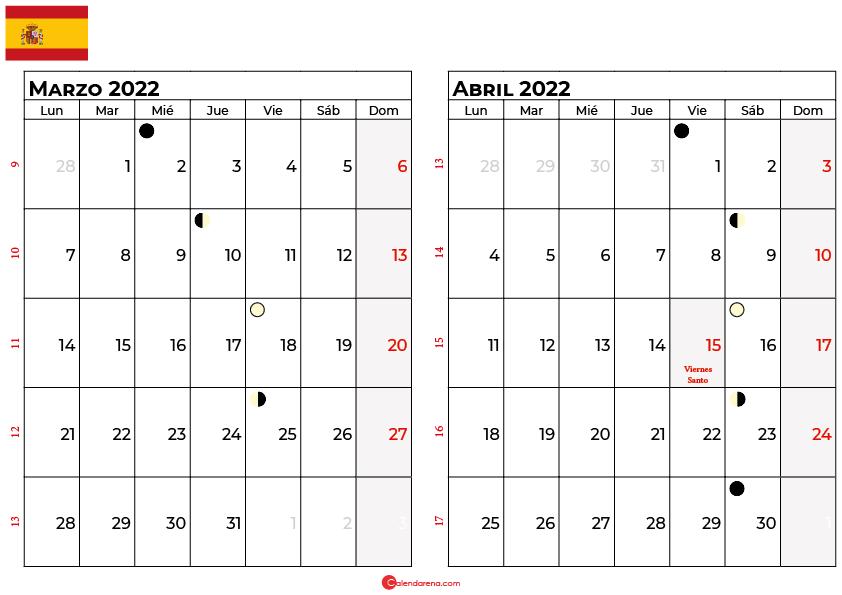calendario marzo y abril 2022 España
