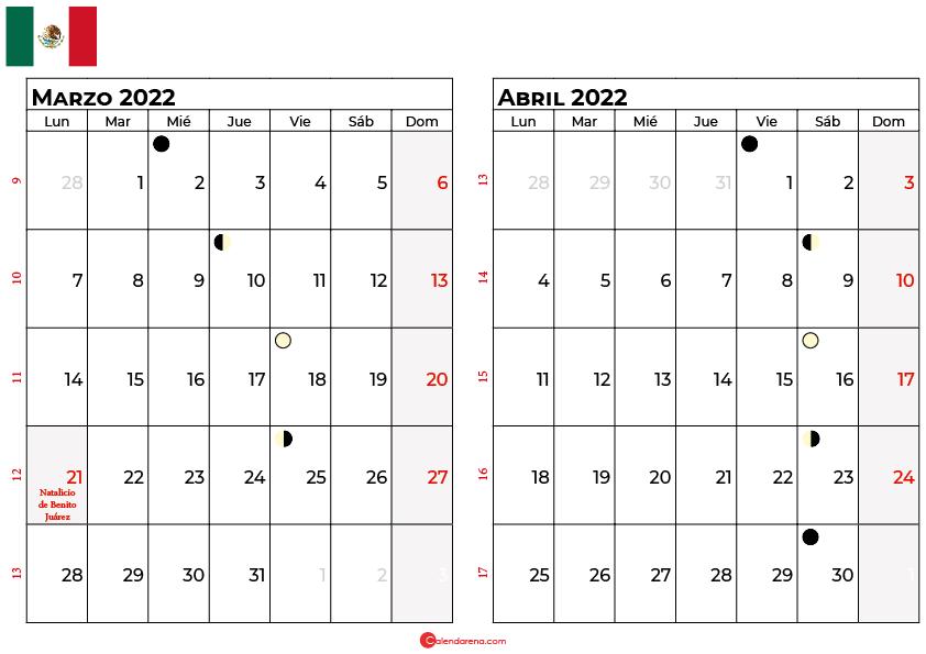 calendario marzo y abril 2022 México