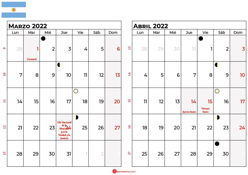 calendario marzo y abril 2022 argentina
