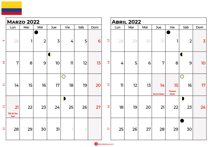 calendario marzo y abril 2022 colombia