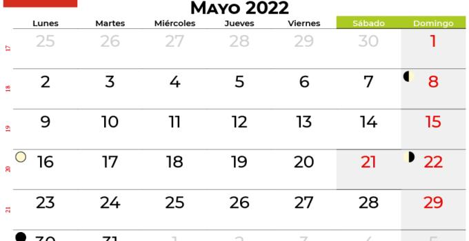 calendario mayo 2022 Chile