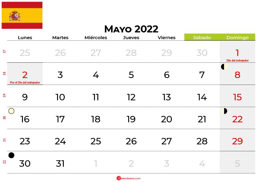 calendario mayo 2022 España