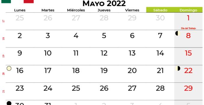 calendario mayo 2022 México