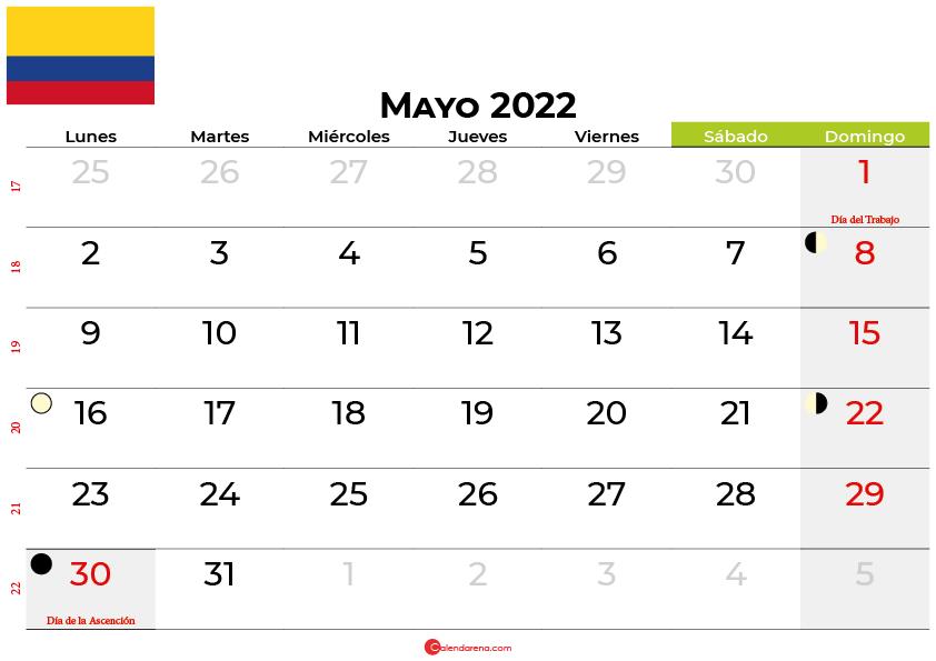 calendario mayo 2022 colombia