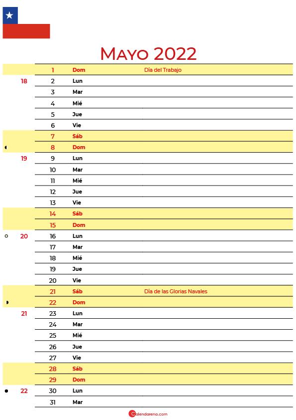 calendario mayo 2022 para imprimir Chile