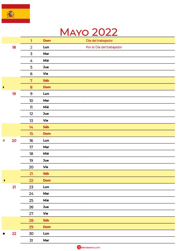 calendario mayo 2022 para imprimir España