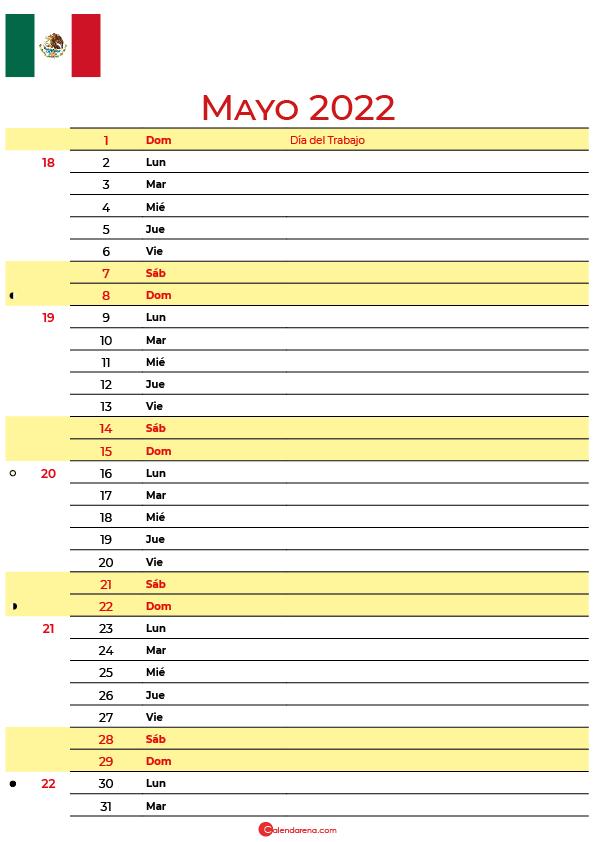 calendario mayo 2022 para imprimir México