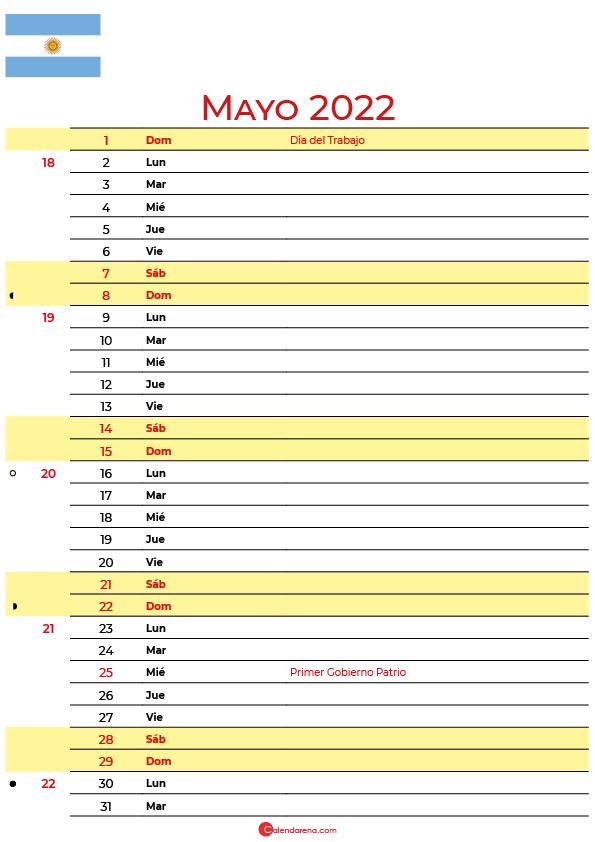 calendario mayo 2022 para imprimir argentina