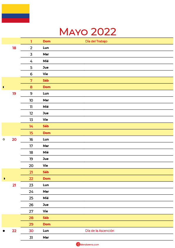 calendario mayo 2022 para imprimir colombia