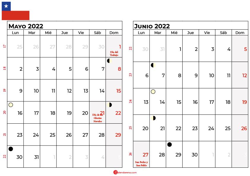 calendario mayo y junio 2022 Chile