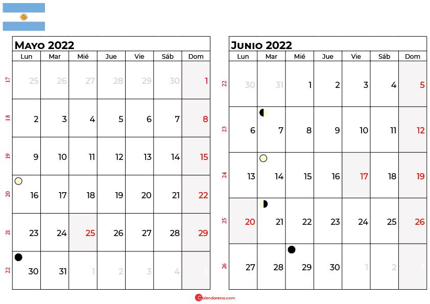 calendario mayo y junio 2022 argentina