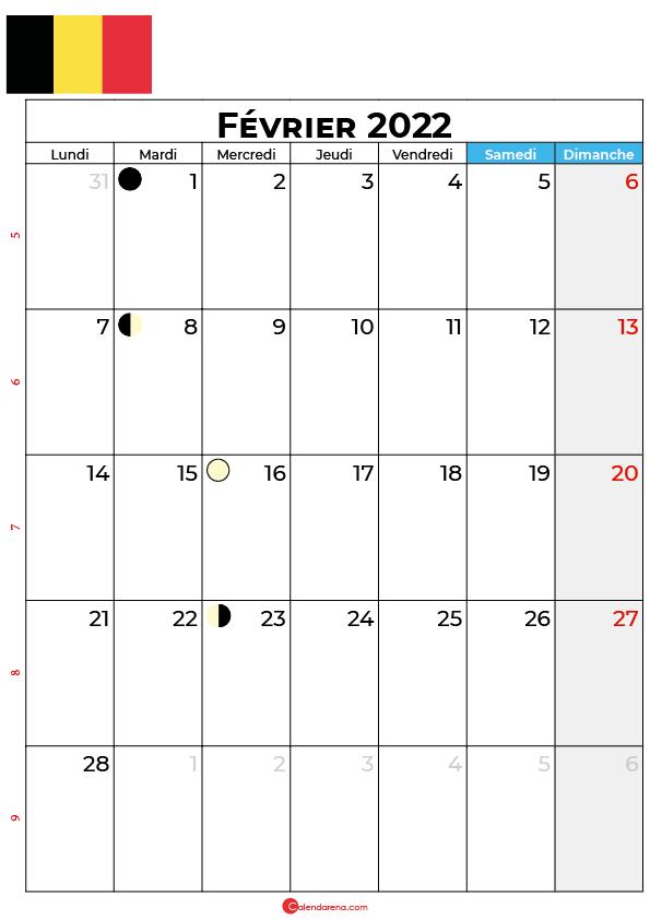 calendrier Février 2022 à imprimer belgique
