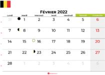 calendrier Février 2022 belgique