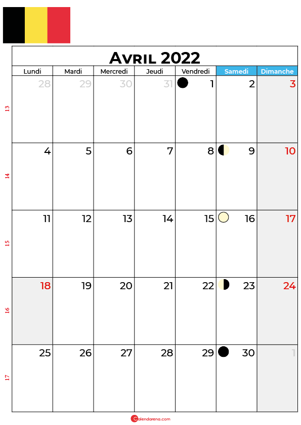 calendrier avril 2022 à imprimer belgique