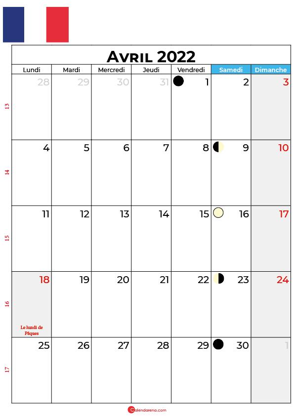 calendrier avril 2022 à imprimer france