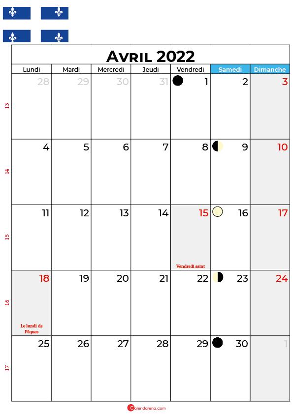calendrier avril 2022 à imprimer québec canada