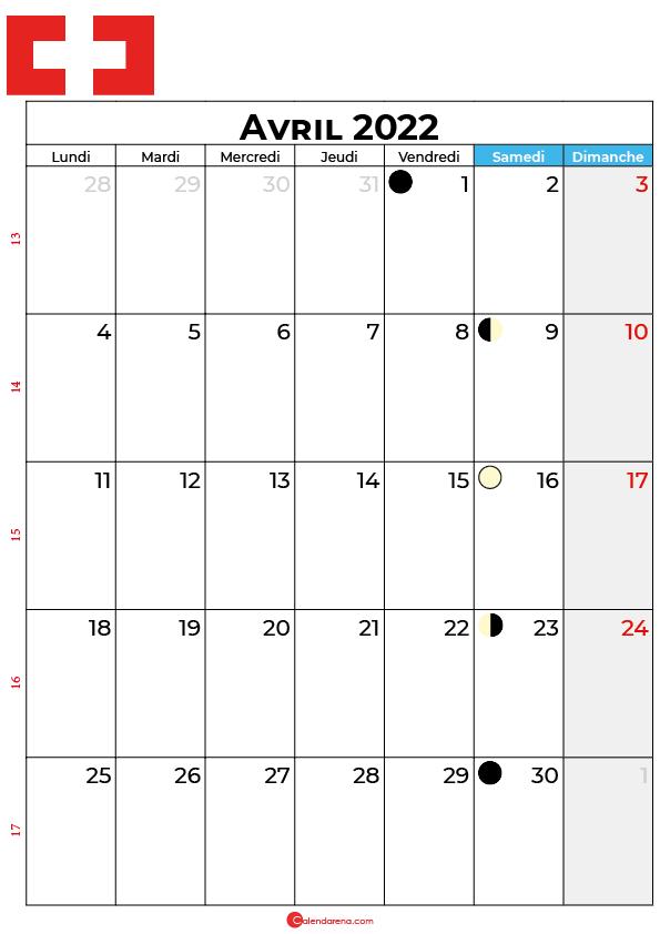 calendrier avril 2022 à imprimer suisse